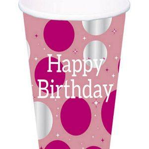 Papirnate čaše ružičaste sa srebrnim točkama