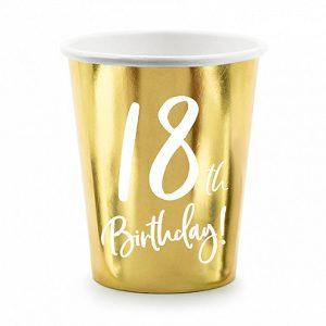 Zlatne papirnate čaše 18. rođendan