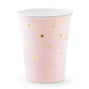Rozi papirnate čaše sa zlatnim zvjezdicama