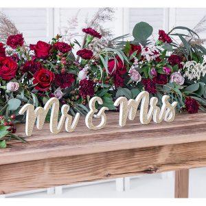 natpis drveni mr & mrs