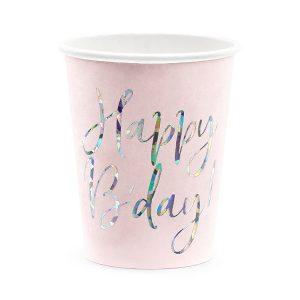 papirnate čaše roze Happy B'day