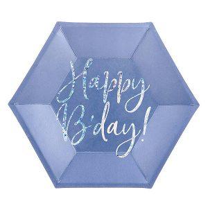 papirnati tanjuri mornarsko plavi happy b'day