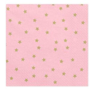 Rozi papirnate salvete sa zlatnim zvjezdicama
