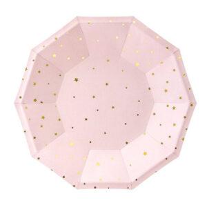 Rozi papirnati tanjuri sa zlatnim zvjezdicama